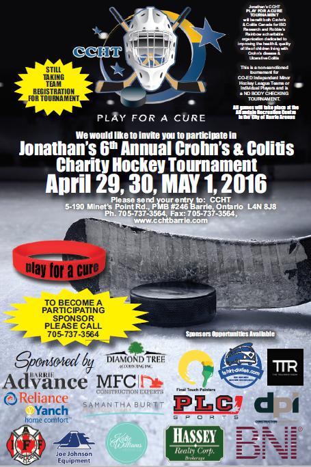 Jonathan's 6th Annual Crohn's & Colitis Charity Hockey Tournament