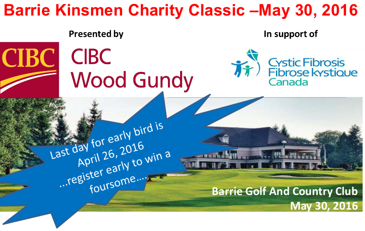 Barrie Kinsmen Golf Tournament header