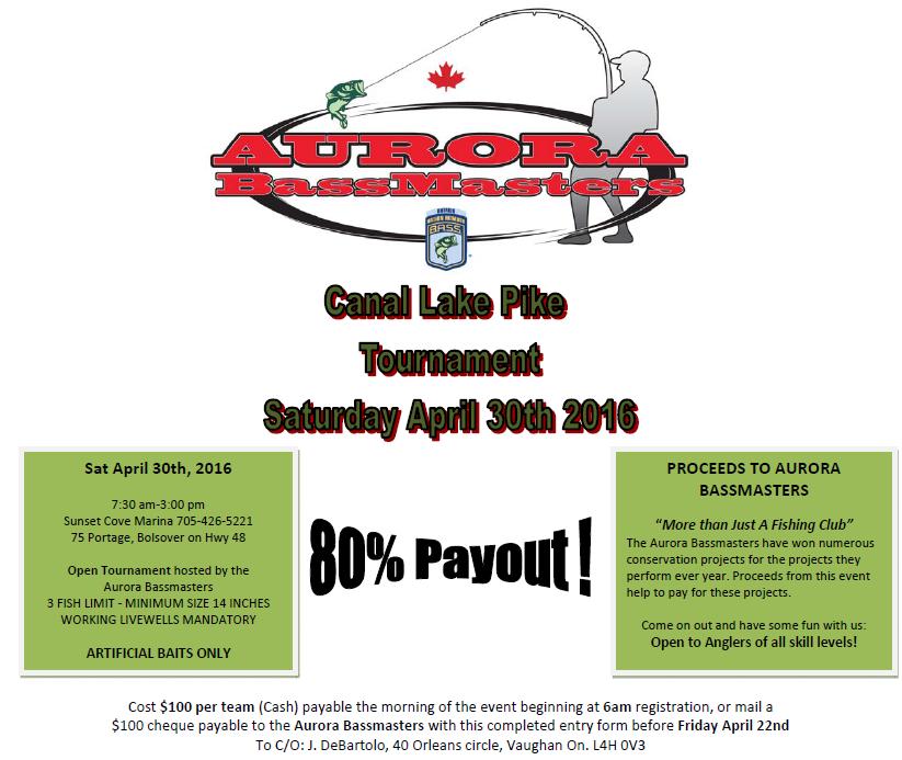 Aurora BassMasters Canal Lake Pike Tourament