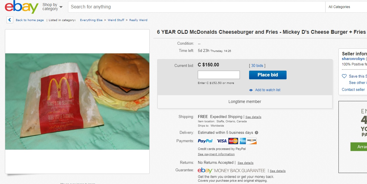 Happening Now A 6 Year Old Mcdonald S Cheeseburger Is Getting Bids On E Bay 107 5 Kool Fm