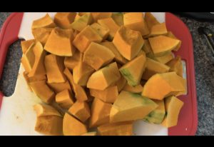 chopped squash for pumpkin soup
